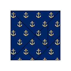 Gold Anchors On Blue Background Pattern Acrylic Tangram Puzzle (4  x 4 )