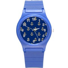 Gold Anchors On Blue Background Pattern Round Plastic Sport Watch (S)
