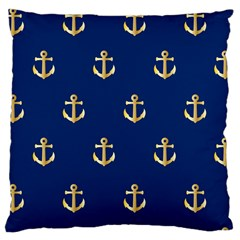 Gold Anchors On Blue Background Pattern Large Cushion Case (Two Sides)