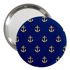 Gold Anchors On Blue Background Pattern 3  Handbag Mirrors