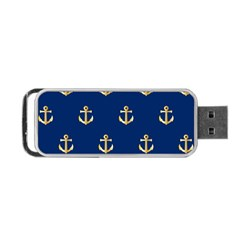 Gold Anchors On Blue Background Pattern Portable USB Flash (Two Sides)