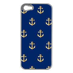 Gold Anchors On Blue Background Pattern Apple Iphone 5 Case (silver)