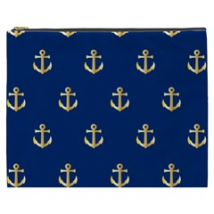 Gold Anchors On Blue Background Pattern Cosmetic Bag (XXXL)