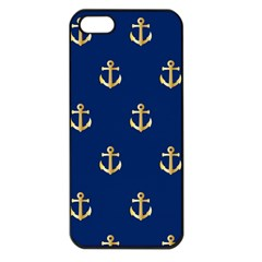 Gold Anchors On Blue Background Pattern Apple iPhone 5 Seamless Case (Black)