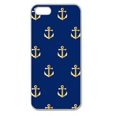 Gold Anchors On Blue Background Pattern Apple Seamless iPhone 5 Case (Clear)
