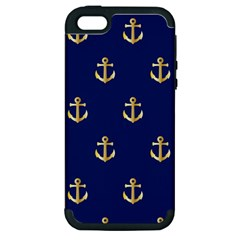 Gold Anchors On Blue Background Pattern Apple iPhone 5 Hardshell Case (PC+Silicone)