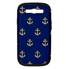 Gold Anchors On Blue Background Pattern Samsung Galaxy S III Hardshell Case (PC+Silicone)