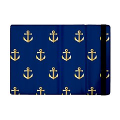 Gold Anchors On Blue Background Pattern Apple iPad Mini Flip Case