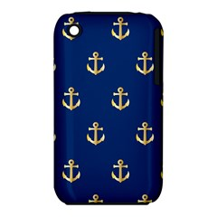 Gold Anchors On Blue Background Pattern iPhone 3S/3GS