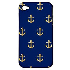 Gold Anchors On Blue Background Pattern Apple iPhone 4/4S Hardshell Case (PC+Silicone)
