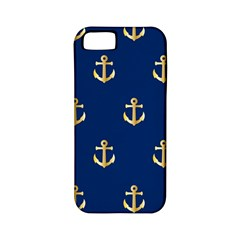 Gold Anchors On Blue Background Pattern Apple Iphone 5 Classic Hardshell Case (pc+silicone)