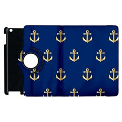 Gold Anchors On Blue Background Pattern Apple iPad 2 Flip 360 Case