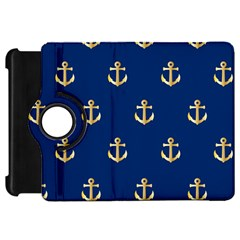 Gold Anchors On Blue Background Pattern Kindle Fire HD 7