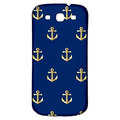 Gold Anchors On Blue Background Pattern Samsung Galaxy S3 S III Classic Hardshell Back Case