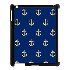 Gold Anchors On Blue Background Pattern Apple iPad 3/4 Case (Black)