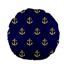 Gold Anchors On Blue Background Pattern Standard 15  Premium Round Cushions