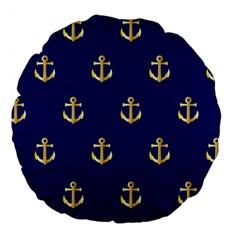 Gold Anchors On Blue Background Pattern Large 18  Premium Round Cushions