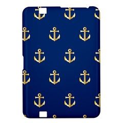 Gold Anchors On Blue Background Pattern Kindle Fire Hd 8 9