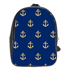 Gold Anchors On Blue Background Pattern School Bags (XL)