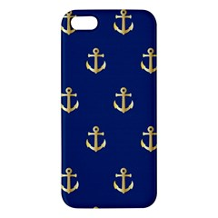 Gold Anchors On Blue Background Pattern Apple iPhone 5 Premium Hardshell Case