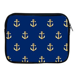 Gold Anchors On Blue Background Pattern Apple iPad 2/3/4 Zipper Cases