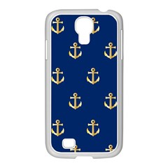 Gold Anchors On Blue Background Pattern Samsung GALAXY S4 I9500/ I9505 Case (White)