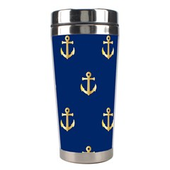 Gold Anchors On Blue Background Pattern Stainless Steel Travel Tumblers