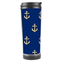 Gold Anchors On Blue Background Pattern Travel Tumbler