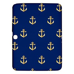 Gold Anchors On Blue Background Pattern Samsung Galaxy Tab 3 (10.1 ) P5200 Hardshell Case