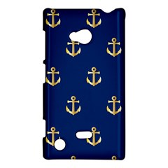 Gold Anchors On Blue Background Pattern Nokia Lumia 720