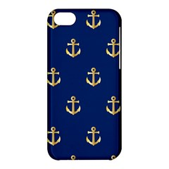Gold Anchors On Blue Background Pattern Apple iPhone 5C Hardshell Case