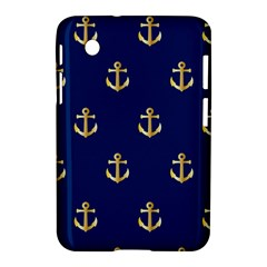 Gold Anchors On Blue Background Pattern Samsung Galaxy Tab 2 (7 ) P3100 Hardshell Case