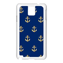 Gold Anchors On Blue Background Pattern Samsung Galaxy Note 3 N9005 Case (White)