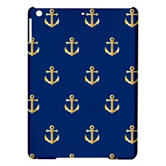 Gold Anchors On Blue Background Pattern iPad Air Hardshell Cases