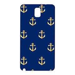 Gold Anchors On Blue Background Pattern Samsung Galaxy Note 3 N9005 Hardshell Back Case