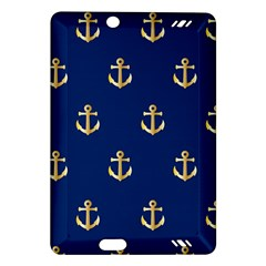 Gold Anchors On Blue Background Pattern Amazon Kindle Fire HD (2013) Hardshell Case