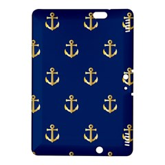 Gold Anchors On Blue Background Pattern Kindle Fire HDX 8.9  Hardshell Case