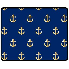 Gold Anchors On Blue Background Pattern Double Sided Fleece Blanket (medium)