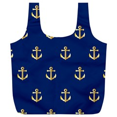 Gold Anchors On Blue Background Pattern Full Print Recycle Bags (L)