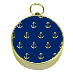 Gold Anchors On Blue Background Pattern Gold Compasses