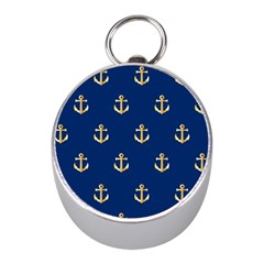 Gold Anchors On Blue Background Pattern Mini Silver Compasses