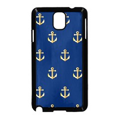 Gold Anchors On Blue Background Pattern Samsung Galaxy Note 3 Neo Hardshell Case (Black)