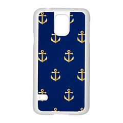 Gold Anchors On Blue Background Pattern Samsung Galaxy S5 Case (White)