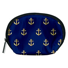 Gold Anchors On Blue Background Pattern Accessory Pouches (Medium)