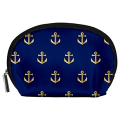 Gold Anchors On Blue Background Pattern Accessory Pouches (Large)