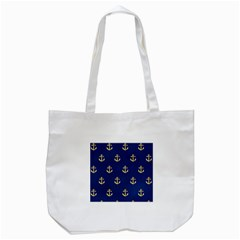 Gold Anchors On Blue Background Pattern Tote Bag (White)