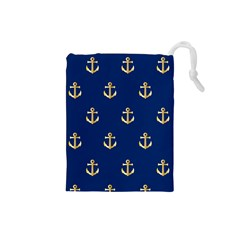 Gold Anchors On Blue Background Pattern Drawstring Pouches (Small)