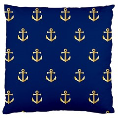 Gold Anchors On Blue Background Pattern Large Flano Cushion Case (One Side)