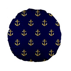 Gold Anchors On Blue Background Pattern Standard 15  Premium Flano Round Cushions