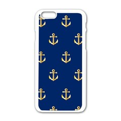 Gold Anchors On Blue Background Pattern Apple Iphone 6/6s White Enamel Case